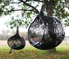 hanging chair and outdoor daybed