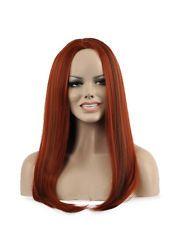 Women Orange Long Straight Heat Resistant Full Wigs Cosplay Hair