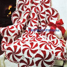 INSTANT DOWNLOAD PDF Vintage Crochet Pattern for Peppermint Candy Pinwheel Afghan Throw Christmas on Etsy, $3.40