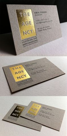 Letterpress And Gold Foil Business Card Design For A Marketing Agency