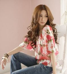 New Free Shipping Spring and Summer Casual ROSE PINK Floral Blouse Printed Rose Style - Feminine Blouse