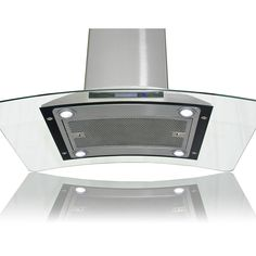 Features:  -Europe style stainless steel curved tempered glass island mount range hood.  -3-Speed fan levels with delayed power auto shut off.  -Ultra-quiet operation keeps noise level less than 65db