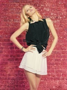 Hunter Bell Black Silk Johnny Top with Printed Color and White Chiffon Tap Shorts Summer 2012