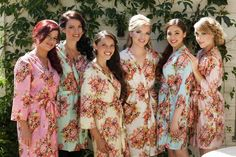 Custom Pastel Floral Posy Bridesmaids Robe Sets  by silkandmore