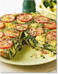 Tortilla de patatas, espinacas y tomate