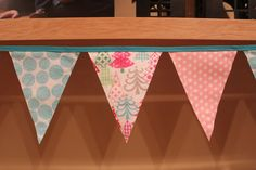 Fabric Banner - Fabric Bunting - Funky Christmas Tree  by monkeyandlamb on Etsy