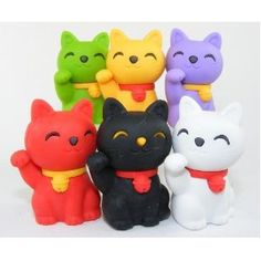 6pcs Japanese Iwako Erasers-Lucky  cat