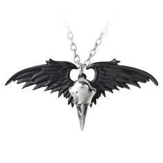 Alchemy Gothic Ravenger Raven Skull & Wings Pendant Necklace The ghostly raven raider of mortal souls, a dark and mysterious phantom reaver and vampire of the daylight shadows. A black pewter pendant