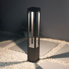 Elipta Matrix Bollard Light with graphite grey finish. Built-in LED warm white lights. Ideal for lighting up along paths, driveways and around decking and terraces. Outdoor Path Lighting, Driveway Lighting, Bollard Lighting, Exterior Lighting, Home Lighting, Led Garden Lights, Garden Lamps, Blitz Design, Pillar Lights