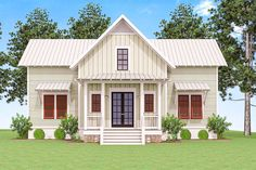 <div><ul><li>Open, airy and informal, this delightful Cottage house plan works well as a vacation retreat or for full time living.</li><li>A beamed ceiling unites the open layout of the kitchen, dining area and living room.</li><li>In the dining area, a bank of triple windows overlooks the huge screened porch in back.</li><li>Double doors in the master suite lead right outside.</li><li>The big loft on the se...
