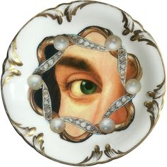 Lover's eye - Pearl - Vintage Porcelain Plate - #0565 by ArtefactoStore on Etsy