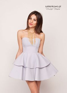Sukienkowo.pl - sukienka z dwoma falbanami szara GISEL