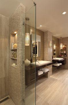 Master Bathroom Renovation - contemporary - Bathroom - Atlanta - Rabaut Design Associates, Inc. Great idea with the shower wall - hides the personal shower items. Bathrooms Remodel, Beige Bathroom, Beautiful Bathrooms, House Design, Bathroom Design, House Bathroom, Master Bathroom Renovation, Home, Trendy Bathroom