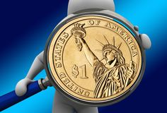 hand magnifying glass dollar money currency