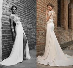 2016 Plunging Necklines Mermaid Wedding Dresses Thigh-high Slits Lace Long Sleeves Wedding Gowns Sexy Appliques Sheer Back Bridal Gowns Online with $222.82/Piece on Angelia0223's Store | DHgate.com