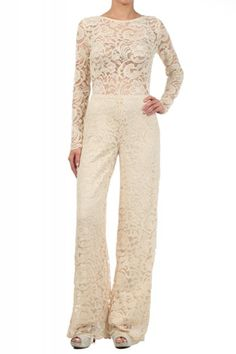 Lace Jumpsuit With A Boat Neckline And A Wide Leg (FREE SHIPPING)