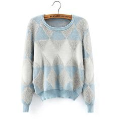Yoins Yoins Fluffy Diamond Long Sleeve Sweater (44 BAM) ❤ liked on Polyvore featuring tops, sweaters, blue, sweaters & cardigans, long sleeve tops, blue top, diamond pullover, sweater pullover and pullover sweater