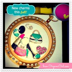 New Fall 2013 Origami Owl Charms! Teal high heal shoe, teal purse, pink 'shop' purse, lipstick Available Oct Origami Owl Fall, Origami Owl Charms, Origami Owl Lockets, Origami Owl Jewelry, Origami Step By Step, Origami Boat, Origami Wedding, Rose Tutorial, Amigurumi