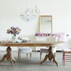 """""""Pavilion"""" oval pedestal dining table by Shabby Chic Couture from Rachel Ashwell."""