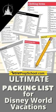Lots of stuff to remember to pack when visiting Disney World but this list makes it EASY Packing List For Disney, Disney World Packing, Ultimate Packing List, Disney Vacation Planning, Disney World Vacation, Disney World Resorts, Disney Vacations, Walt Disney World, Trip Planning