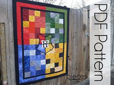 Harry Potter Hogwarts 4-House Quilt - PDF Pattern Quilt Pattern - Early Release Version