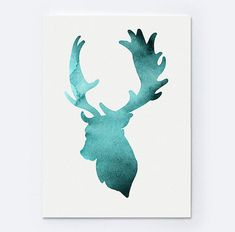 Set of 6 Deer Figurine Art Print Teal Home Decor by Silhouetown