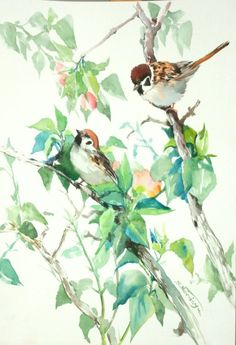 Sparrows and Apple Blossom - Full-frontal image, unframed