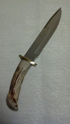 Large Drop Point Whitetail Deer Antler Handle Knife