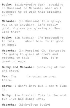 "Bucky and Nat ""talk bad"" about Sam and Steve in Russian and they have their funniest time ever. xD"
