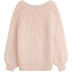Mes Demoiselles Pullover ($280) ❤ liked on Polyvore featuring tops, sweaters, pink, round neck sweater, pullover sweaters, pullover tops, layered tops and fuzzy sweater