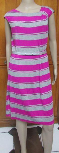 Calvin Klein Pink Gray Striped Casual Sleeveless Dress w/Belt  NWT SZ 12 #CalvinKlein #Sheath #Casual