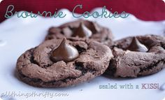 Yummy brownie cookies sealed with a Hershey KISS!