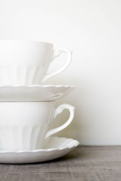 Vintage Ironstone Teacups & Saucers, J Meakin Classic White