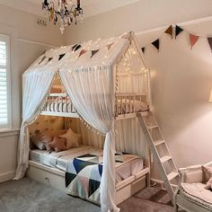 Bunk Beds For Girls Room, Big Girl Rooms, Kid Beds, Toddler Bunk Beds, Girl Loft Beds, Bunk Bed Rooms, Bunk Beds For Toddlers, Baby Bunk Beds, Bedrooms