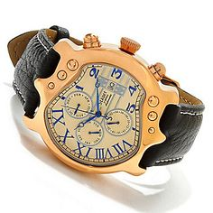 Stauer 43mm Guitar Automatic Stainless Steel Leather Strap Watch