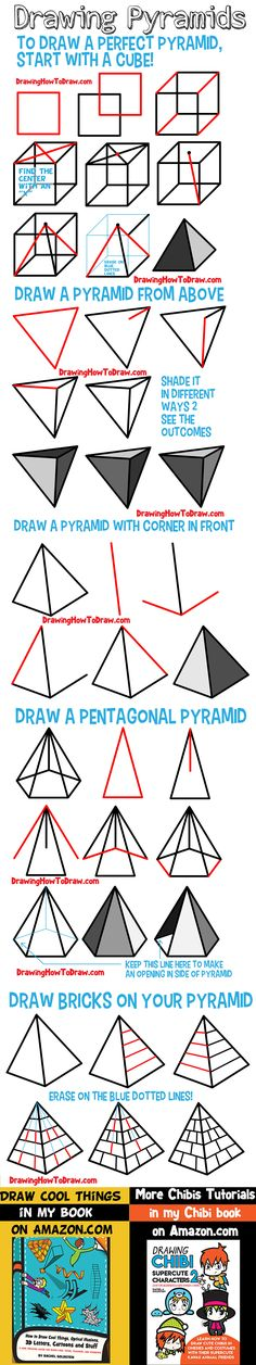how to draw pyramids how to draw a pyramid shading shade pyramid pyramids guide Teach Kids To Draw, Learn To Draw, Drawing For Kids, Art For Kids, 3d Pyramid, How To Draw Steps, Different Angles, Step By Step Drawing, Pictures To Draw