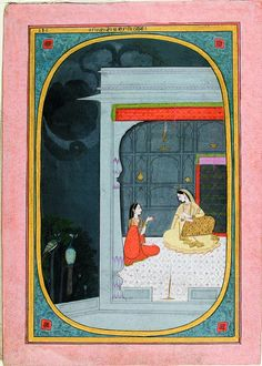 Radha in a pavilion gazes at her sakhi - Series Title: Connoisseur's Delight, Rasikapriya, ca. 1820, Edwin Binney 3rd Collection, The San Diego Museum of Art