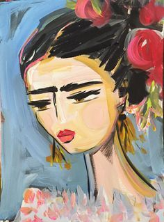 A personal favorite from my Etsy shop https://www.etsy.com/listing/274681446/frida-kahlo-painting-roses-pretty