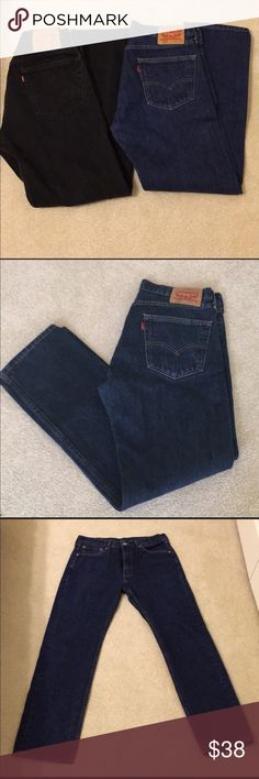 🔥HOT DEAL🔥2 PAIR OF MENS LEVIS JEANS 33 x 32 HERE IS A BARGAIN. 2 pair of MENS LEVIS jeans. WORN ONCE. TOO SMALL FOR OWNER. IN NEW LIKE CONDITION. LEVIS 505. One BLUE pair and one Black pair. 33 x 32.  CREATE A BUNDLE AND SAVE. CHECK OUT MY OTHER MENS ITEMS.!! Levi's Jeans Bootcut
