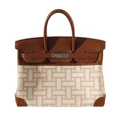 c599f6d5b6 35cm Hermes 2 Tone Mosaic Toile and Fjord Leather Birkin Handbag