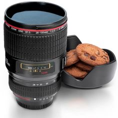 Trinkbecher Kameraobjektiv schwarz