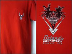 Mens Harley Davidson Pocketed T Shirt XL Orlando Florida Red made in USA #HarleyDavidson #GraphicTee