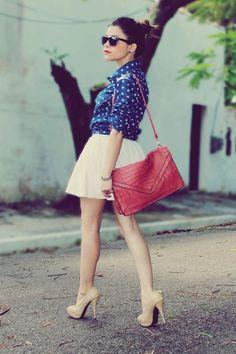 blue Blouse blouse - hot pink Bag bag - ivory skirt - beige pumps