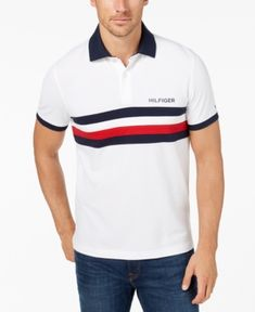 b8c57f4f Tommy Hilfiger Men's Classic Fit Colorblocked Striped Polo, Created for  Macy's & Reviews - Casual Button-Down Shirts - Men - Macy's