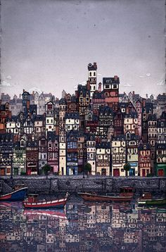 The fishing village - Poster by Jorge Tabanera, via Behance