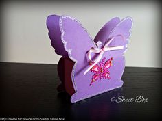 Butterfly favor box gift box with silver glitter