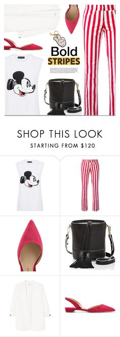 """Strong Stripes: Graphic Striped Pants"" by monica-dick ❤ liked on Polyvore featuring Markus Lupfer, Dondup, Paul Andrew, Milly, MANGO, Anya Hindmarch, stripes, stripedpants and polyvoreeditorial"