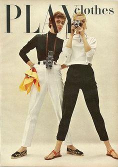 Classic style 50s cigarette pants black white knit sweater turtleneck sandals canvas shoes models magazine pencil slim vintage fashion style casual day sports wear