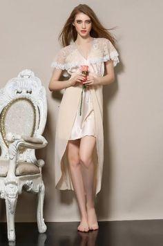 bridesmaid robes long satin nightgowns women Sexy V-Neck lace nightgowns silk nightgowns xl women sleeping dress Ladies nightie