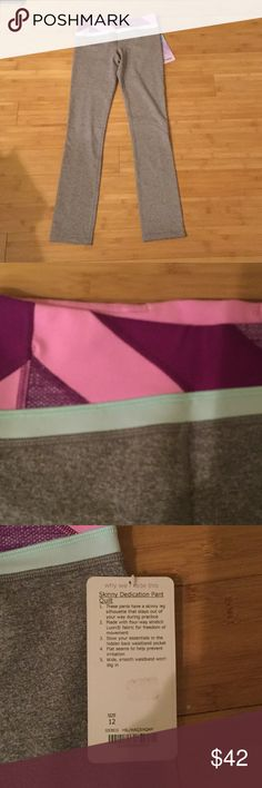 NWT ivivva Skinny dedication pants 12 Brand new, with tags, Ivivva skinny dedication pants. Ivivva is the youth line of lululemon. These are a girls 12, but are similar in size to a lulu 2 in that my teenage daughter wears the sizes interchangeably. Grey pants in luon fabric with a pink and purple quilt waist. Ivivva Bottoms Leggings